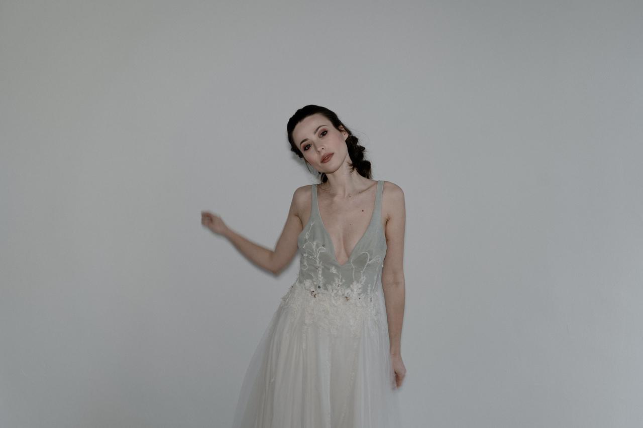 Brautkleid mit Leder Corsage