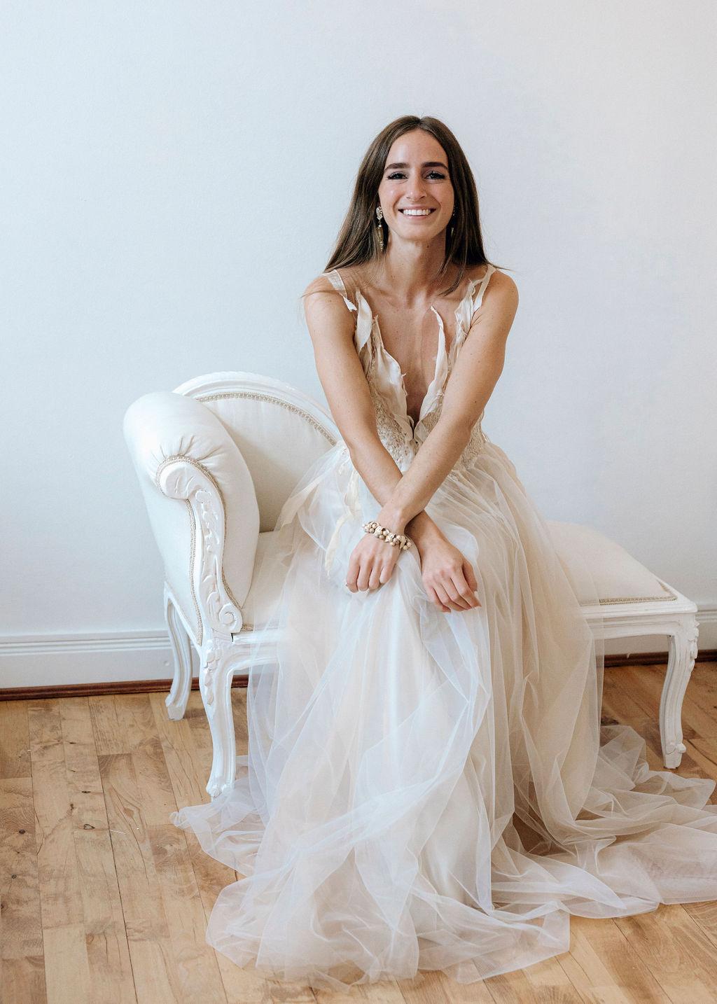 Unikat Brautkleid mit Tüll und Seide